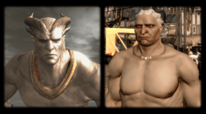 With and without horns.