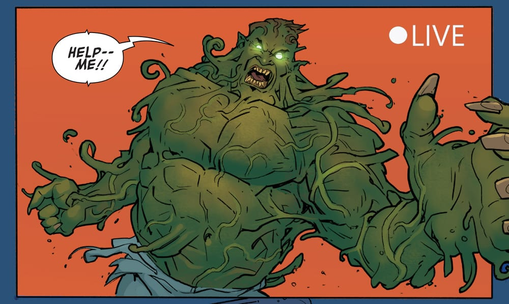 The show host in Hulk becoming a green monster.