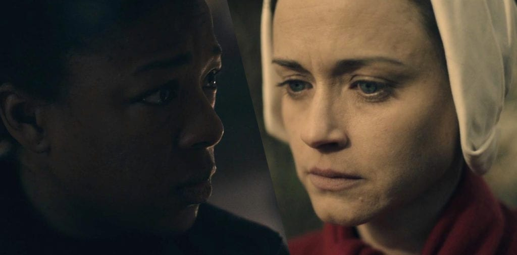 Moira and Emily (a.k.a. Ofglen, Ofsteven) in The Handmaid's Tale