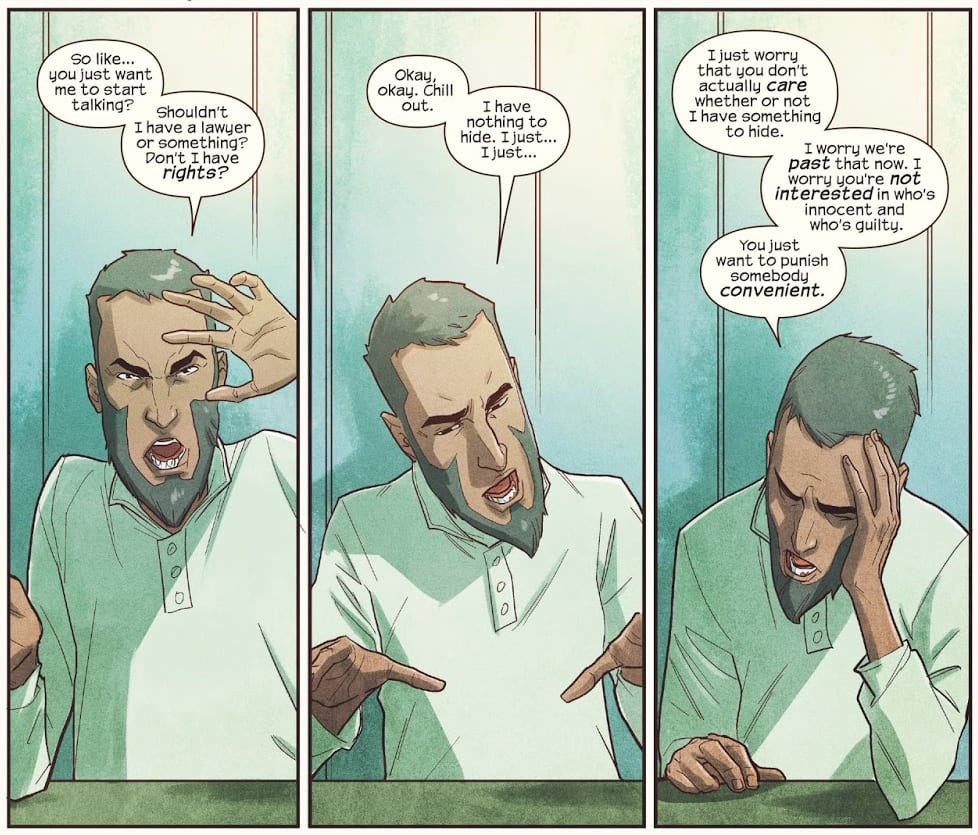 Aamir Khan being interrogated in Ms Marvel #20