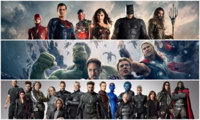 Posters of different superhero franchises