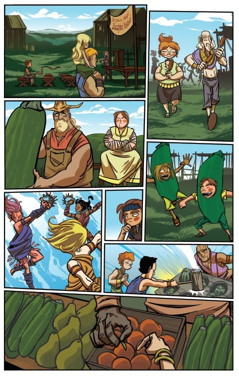 Page of Little Guardians depicting various people from the Yowza village