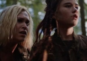 Eliza Taylor as Clarke Griffin and Lola Flanery as Madi in The 100 season 5