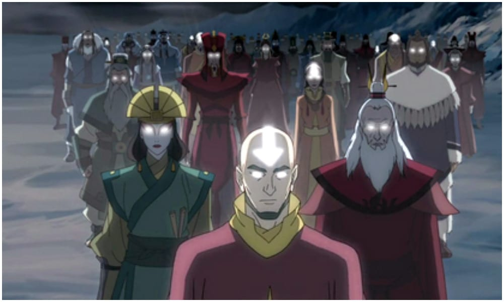 A picture of Korra's previous lives, with Avatar Aang at the front