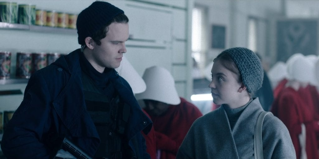 """Rohan Mead as Isaac and Sydney Sweeney as Eden Spencer Blaine in The Handmaid's Tale 2x10 """"The Last Ceremony"""""""