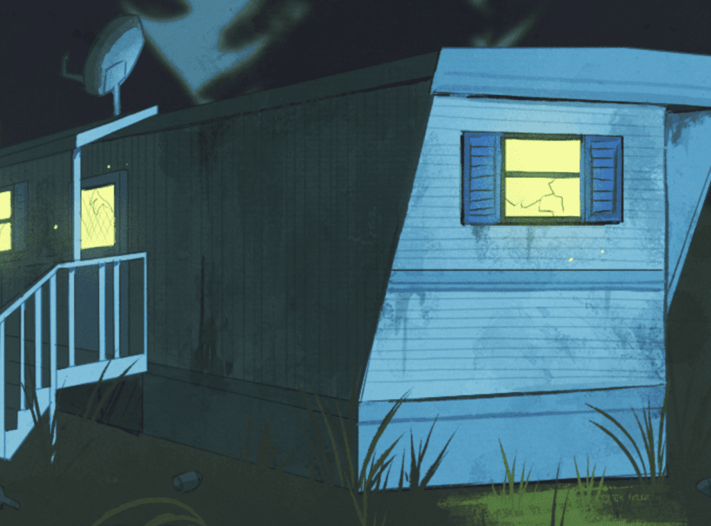 A color image of a trailer home at night, lit from within.