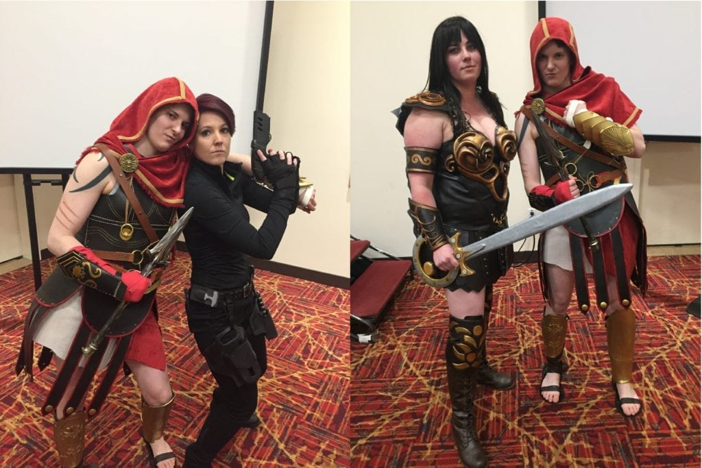 Kassandra (Assassin's Creed: Odyssey), Alex Danvers (Supergirl), and Xena (Xena: Warrior Princess) cosplayers at ClexaCon 2019