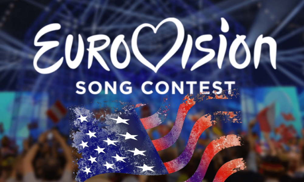 eurovision song contest in white text over blurry image of crowd with american flag underneath