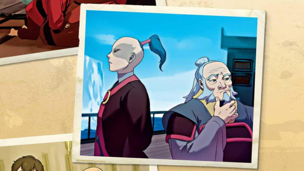 Prince Zuko and Uncle Iroh donning their Fire Nation topknots in Avatar canon book, Legacy of the Fire Nation