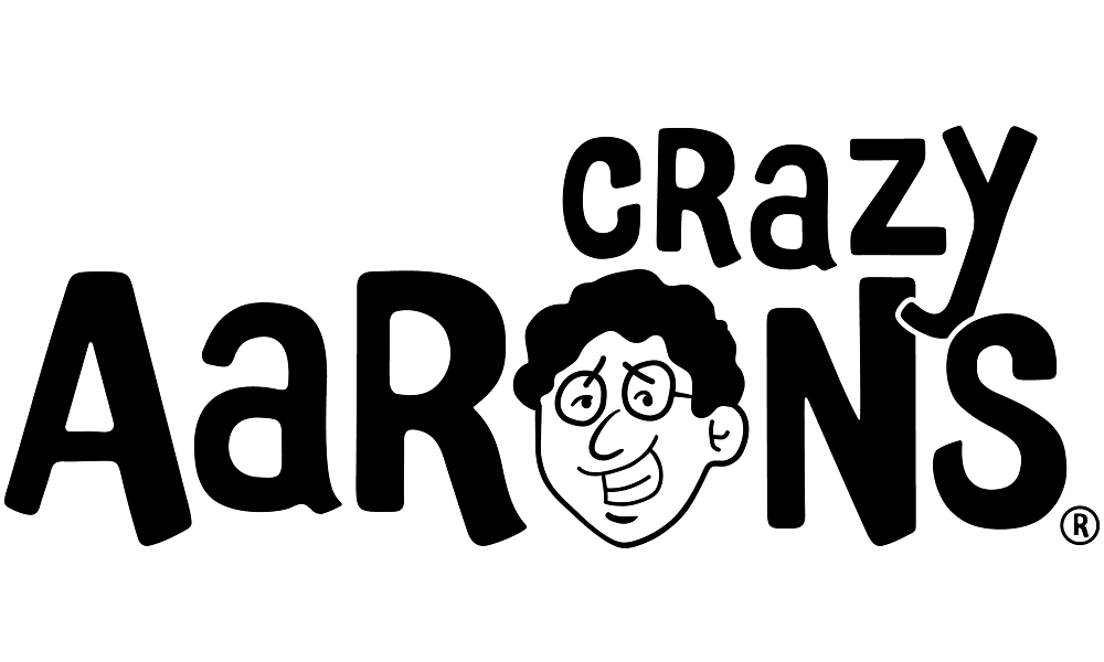 crazy aaron's putty logo with a face in the place of the letter o