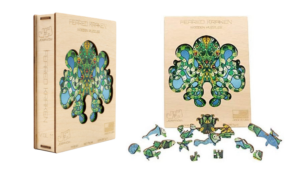 jigsawow kraken puzzle box and pieces