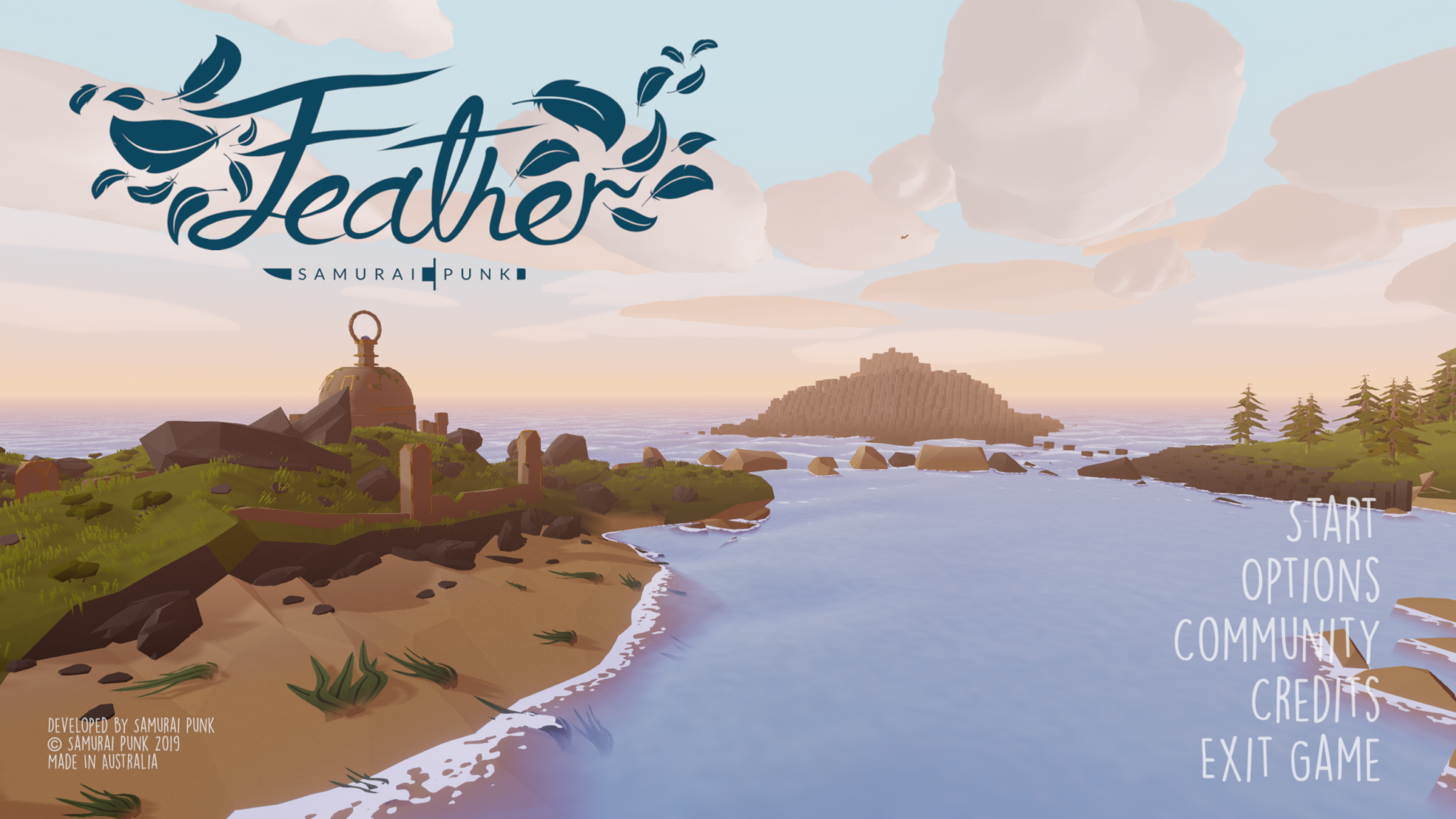 Feather title screen and menu
