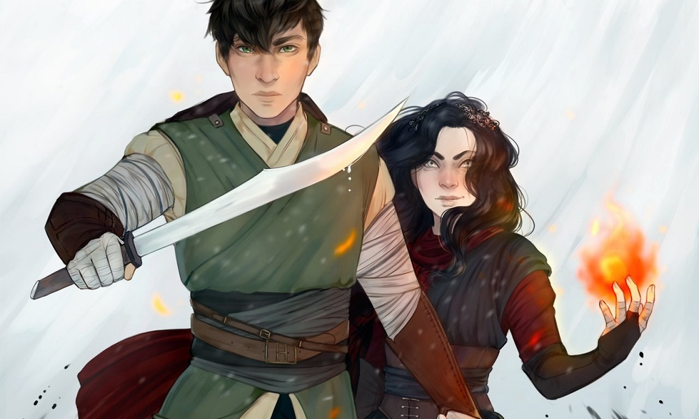 Mercurial cover, tall boy with sword next to shorter girl with flame in hand