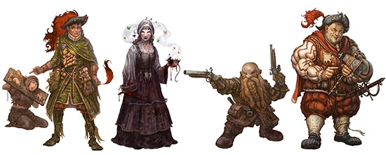 An array of characters from the game. A lawyer points at a beggar in the stocks. A witch casts a spell using a dead rat. A dwarf duellist holds their pistols at the ready. A charlatan shows off his one hundred percent genuine holy relic.