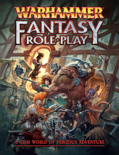 Cover of Warhammer Fantasy Roleplay, 4th edition. The subtitle proclaims it to be a grim world of perilous adventure. The image depicts a group of adventurers fighting a rat ogre. The adventurers include a mage, a slayer, a duellist and a noble fighter.