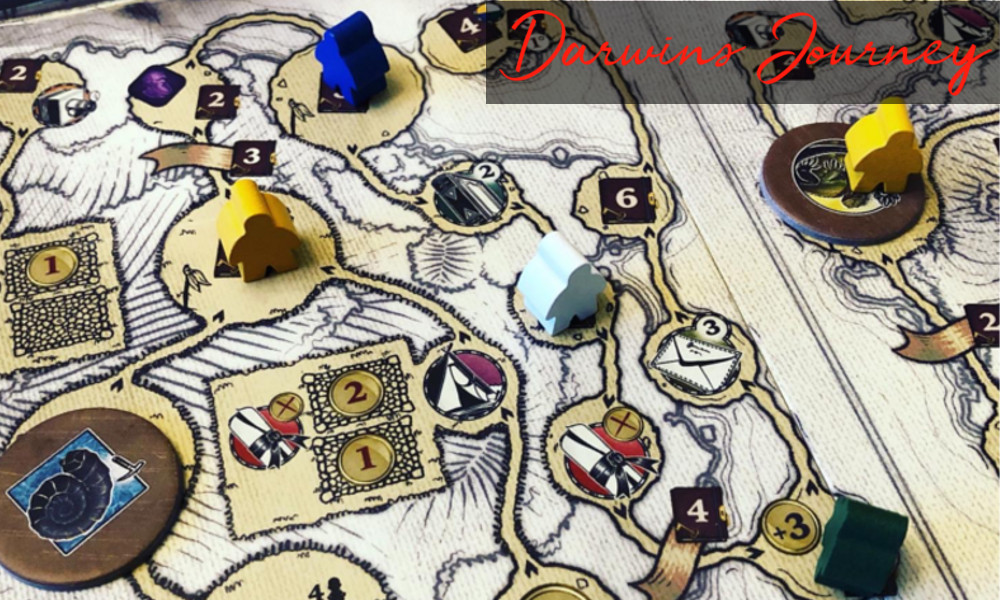 Darwin's Journey game board showing the Galapagos Islands