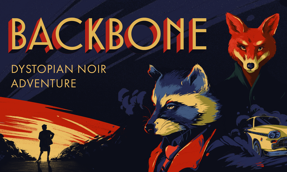 backbone art raccoon and fox in reds and yellows