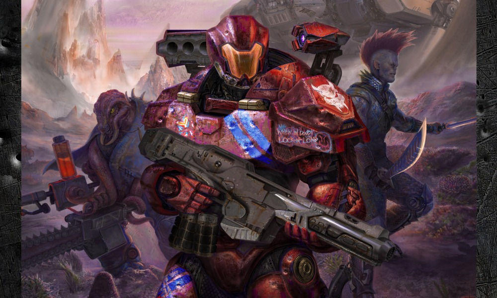 A humanoid in heavy sci-fi armour with a gun advances throughan alien planet. They are flanked on both sides by other armed aliens.