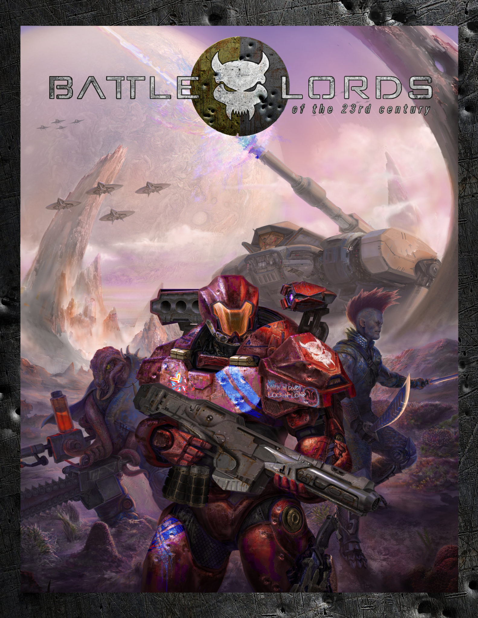 Cover image of Battlelords of the 23rd century. A heavily armed and armoured team of humanoids make their way through an alien war scene, with aircraft overhead and gigantic tanks behind them.