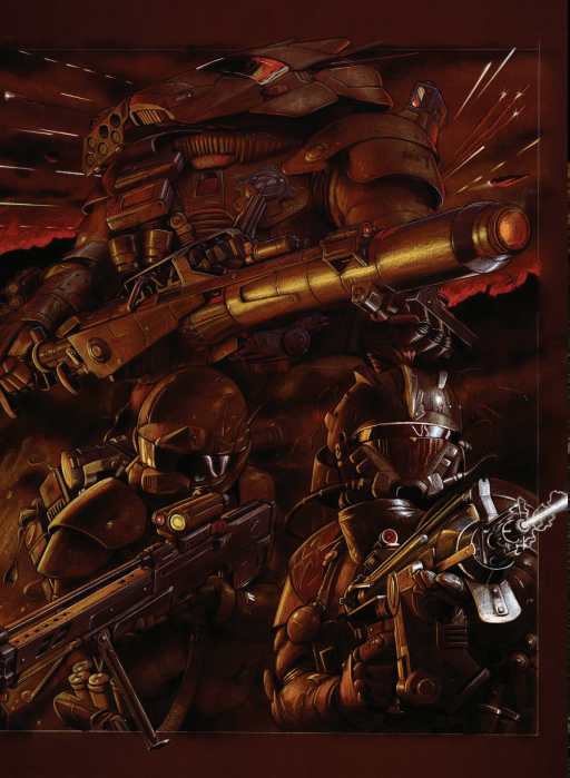 A dark scene of a trio of masked and armored fighters, one in a large mech suit, wielding guns.