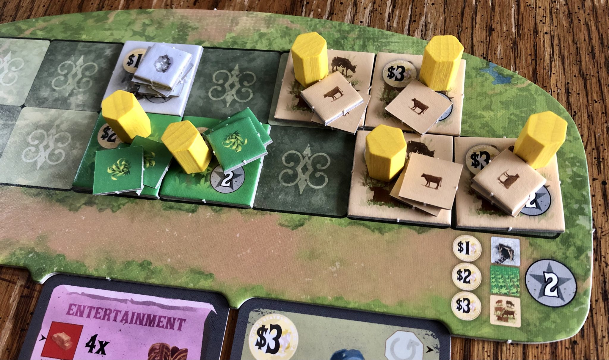 Nevada City  Player board - work and land
