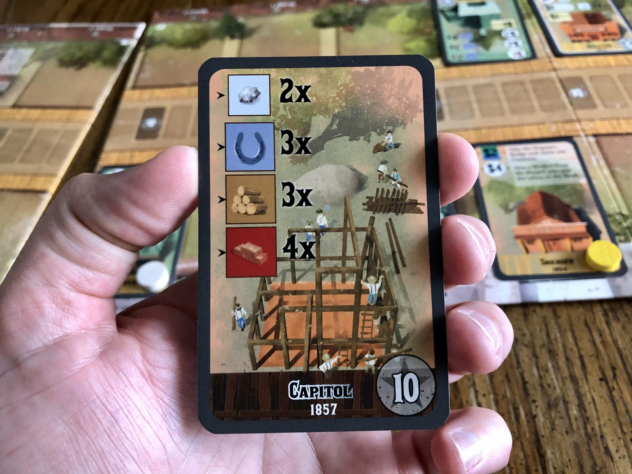 Nevada City - list of what you need to build a building card.