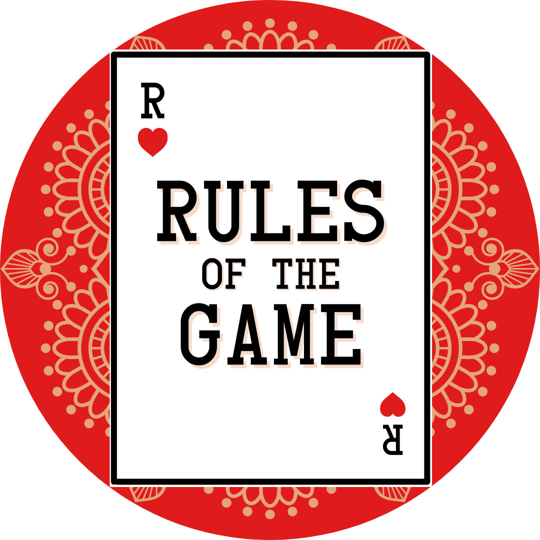 rules of the game logo, playing card on red background