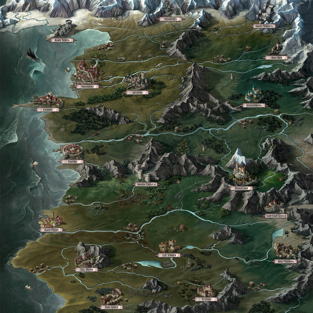 The Witcher: Old World Board Game Map
