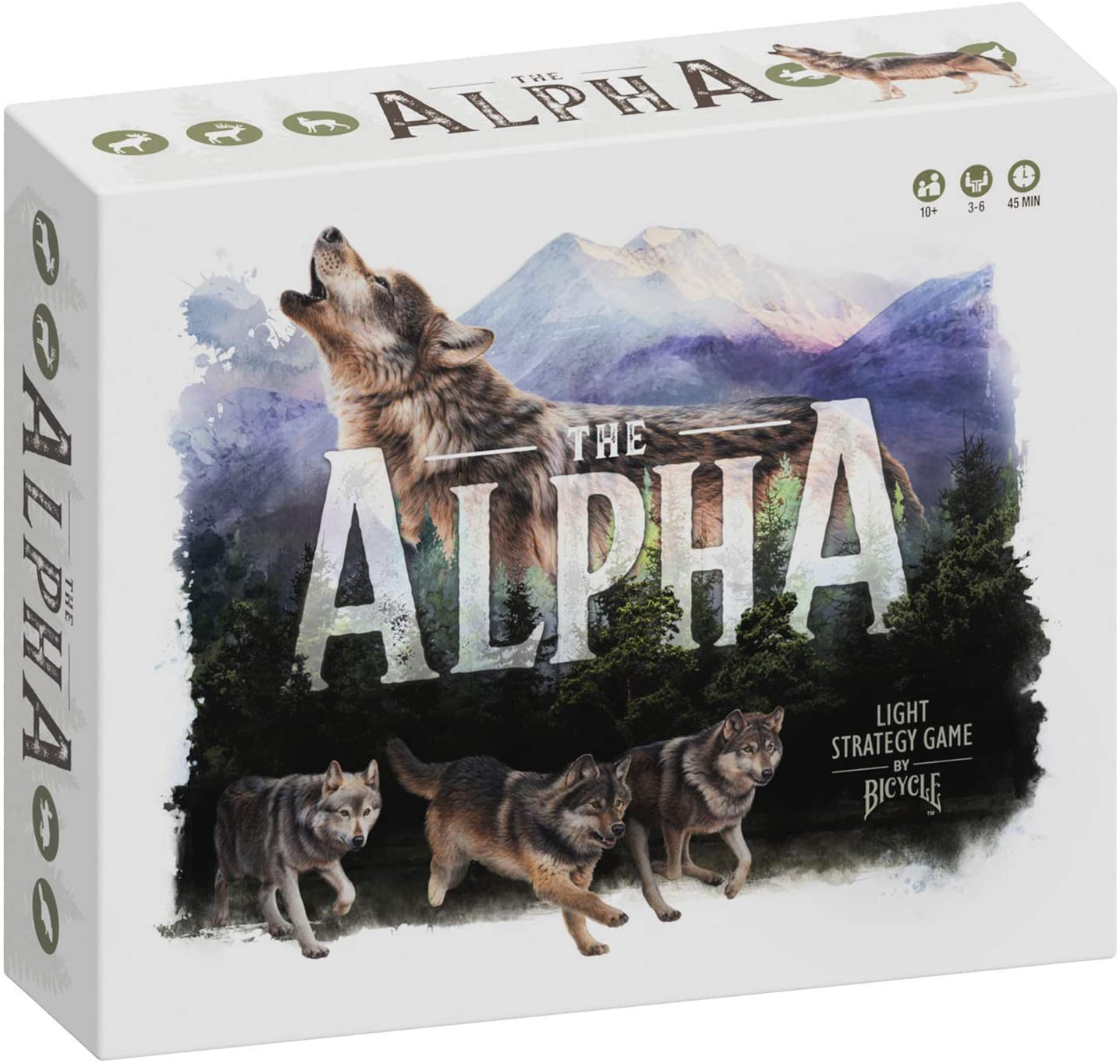 The Alpha's box features art of a wolf and the forest habitat in which the game takes place.