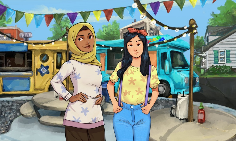 Pakistani girl wearing yellow hijab and South Korean girl in front of food trucks