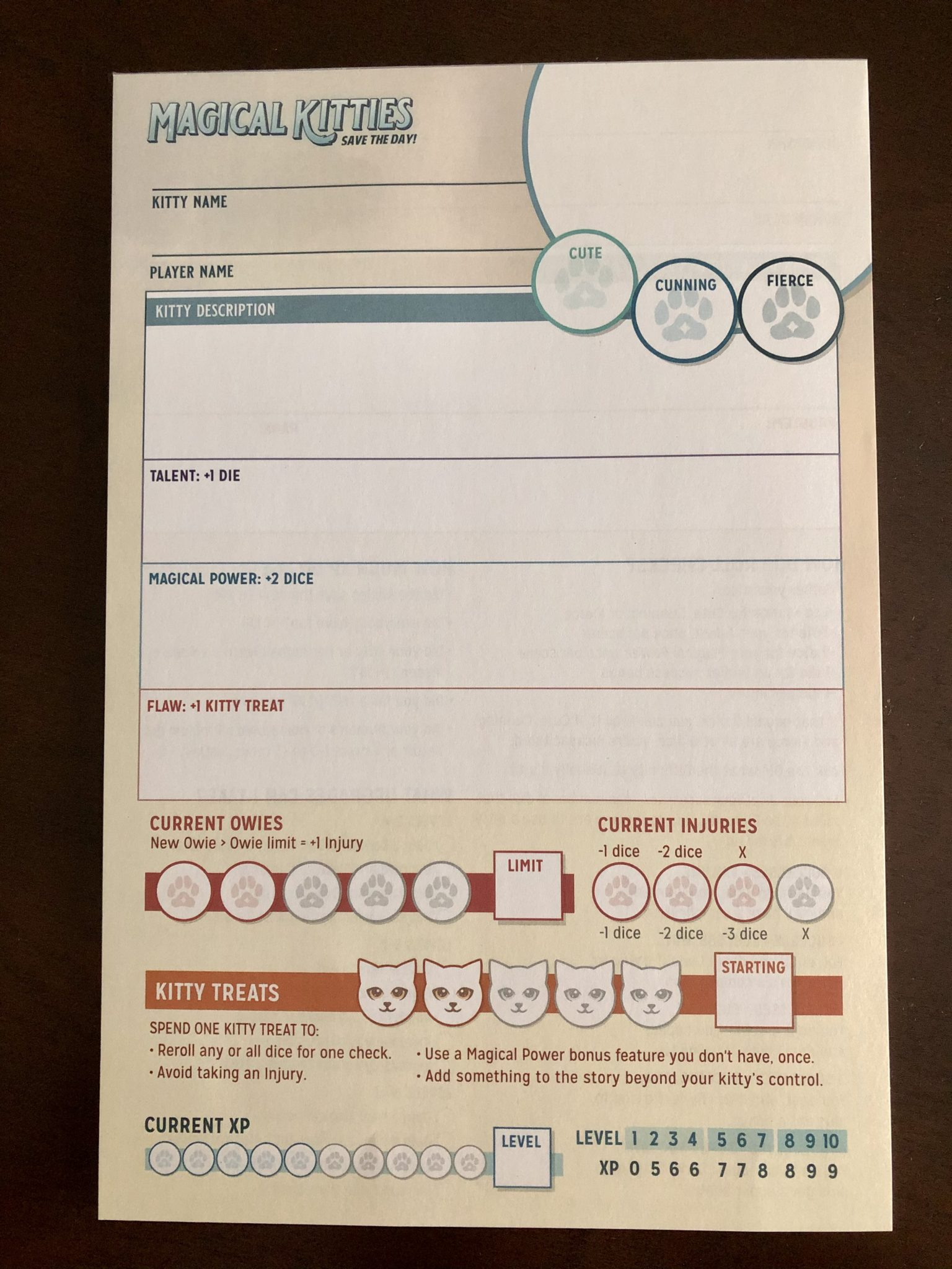 Magical Kitties Save the Day! Character sheet