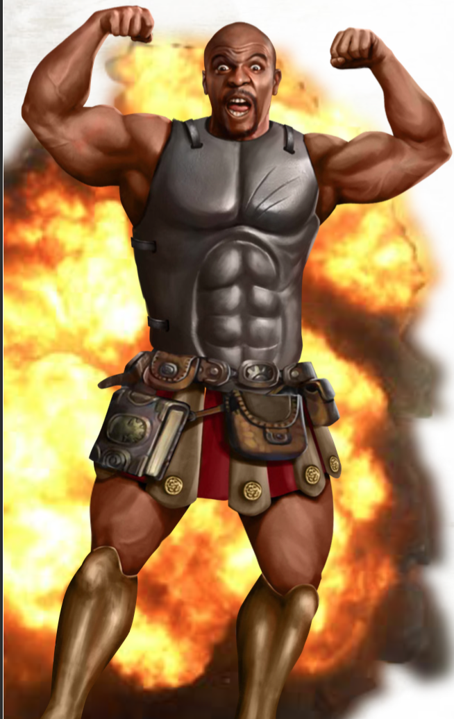 A Cleric of the Explosion Domain who looks like Terry Crews