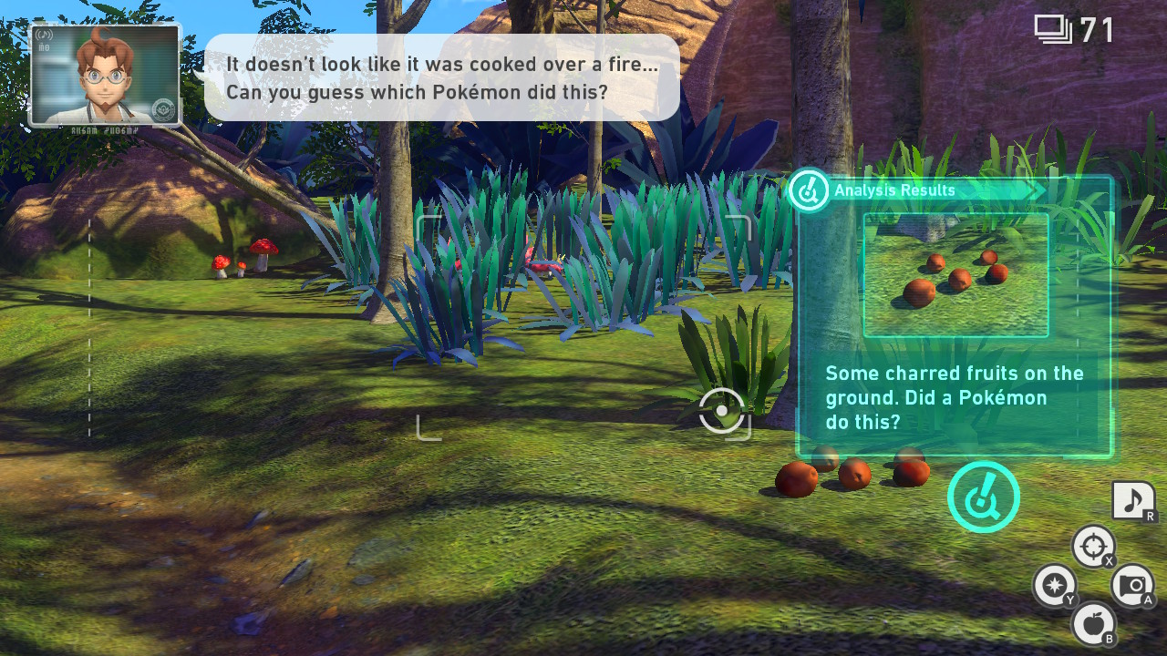 An in-game screenshot of a player finding burnt fruit on the trail. The professor - who interjects during each run - hints at how the player might be able to find, and photograph, the Pokémon who burnt the fruit.