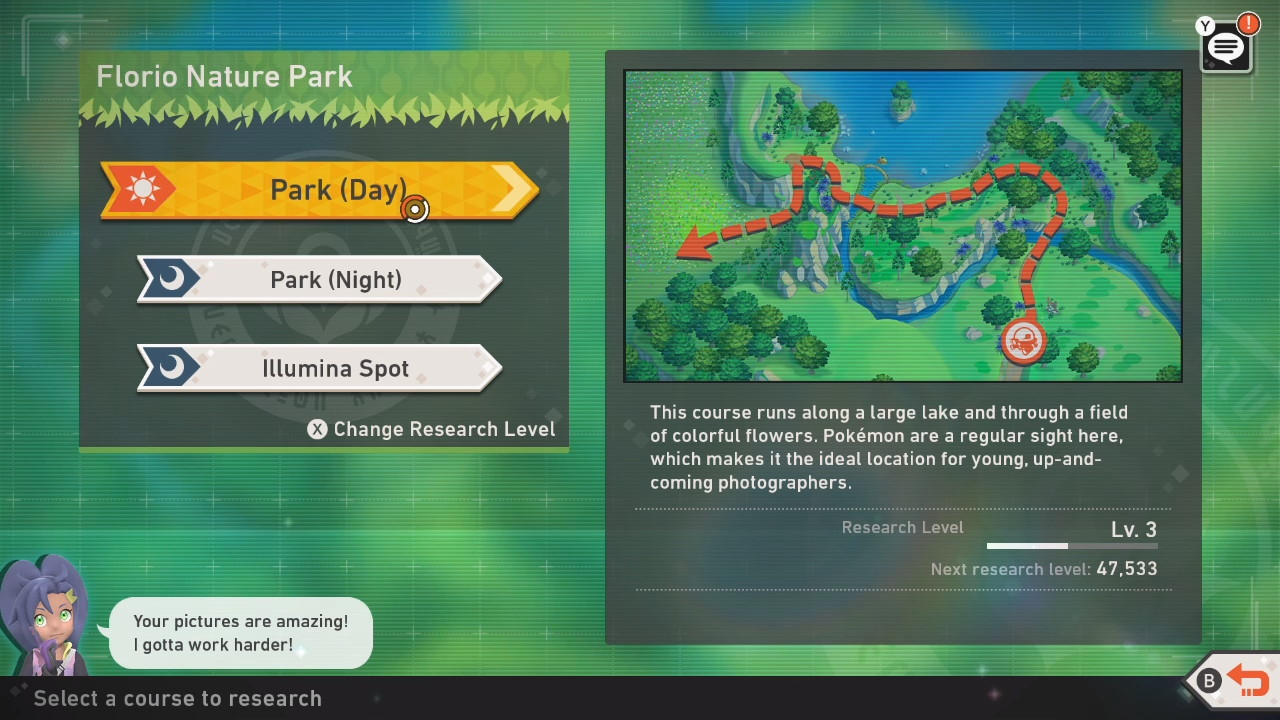 A screenshot of the game's trail menu for a given location, showing a map with multiple versions of the same route available to explore.