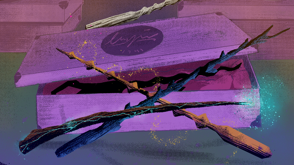 wands against a box on a purple background