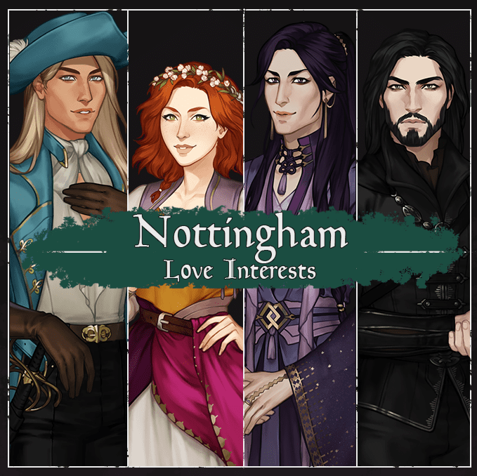 nottingham love interests, blonde white man, redhead white woman, purple haired nonbinary person, and white man with black hair