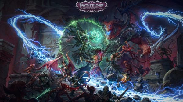 fantasy characters from pathfinder battling