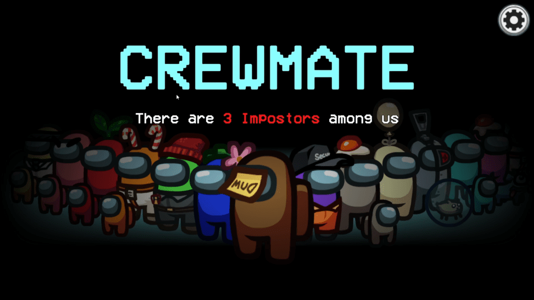 """A group of fifteen variously colored spaceman characters stand under blue text that reads """"Crewmate,"""" and red text that reads """"there are 3 imposters among us."""""""