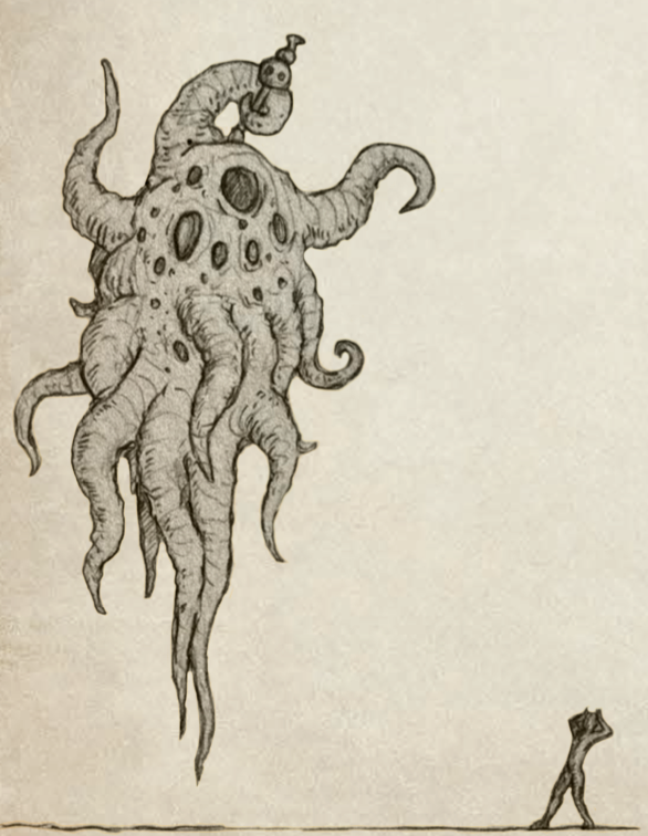 Servitor of the Outer Gods shown in scale with a human