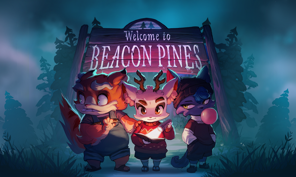 Beacon Pines sign with main characters