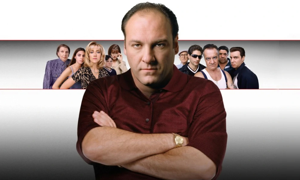 Banner advertising season one of The Sopranos, featuring all major characters.