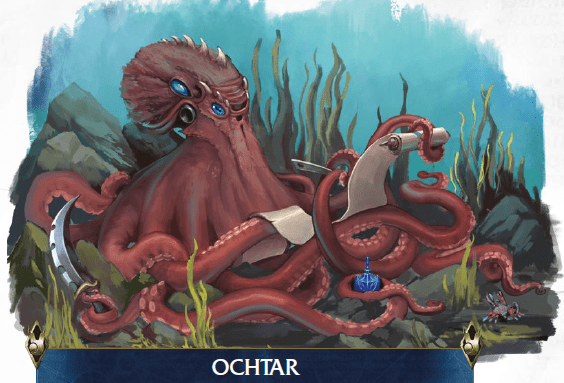 An octopus-like creature holds a scroll in its tentacles while using another of its limbs to write something on it. It holds a large knife in one of its remaining appendiges.