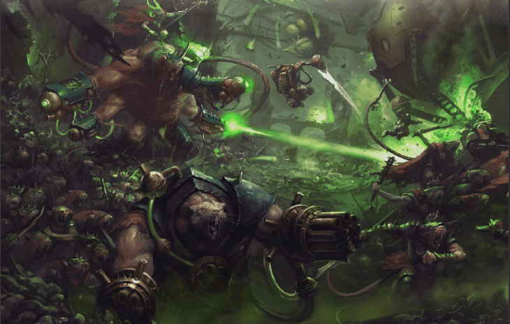 A large number of Skaven rat-men overrun a stronghold backed up with large mutated rat ogres equipped with magically powered guns.