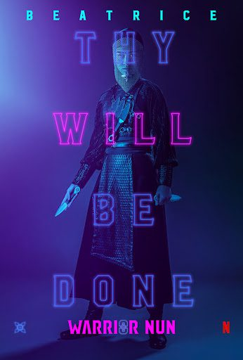 Promotional poster with Sister Beatrice with overlapping text that reads: Thy will be done.