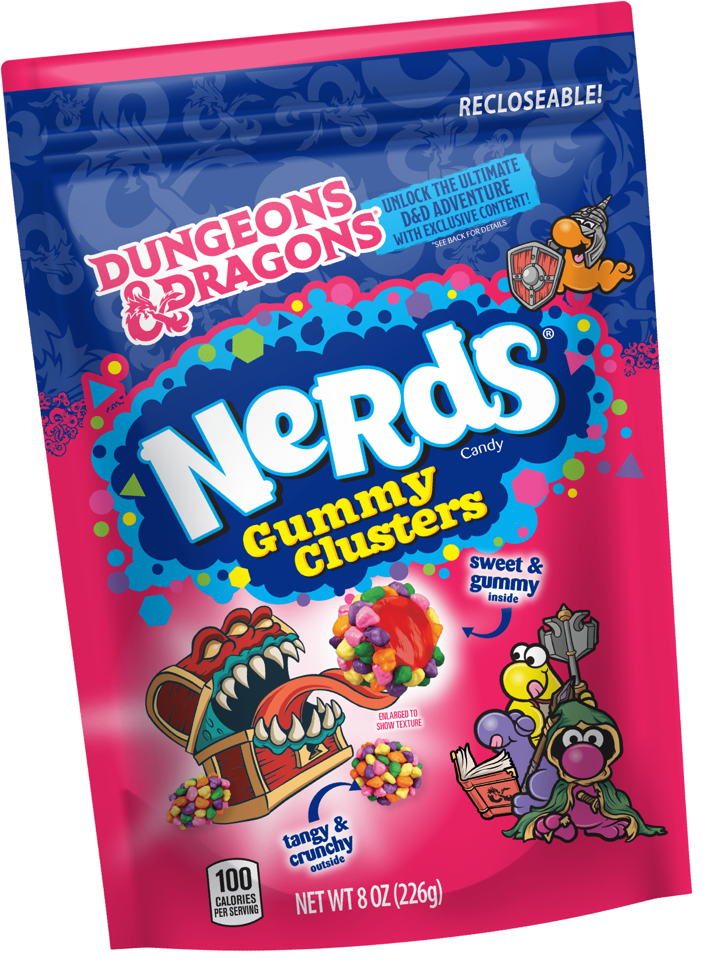 Nerds Gummy clusters with D&D branding