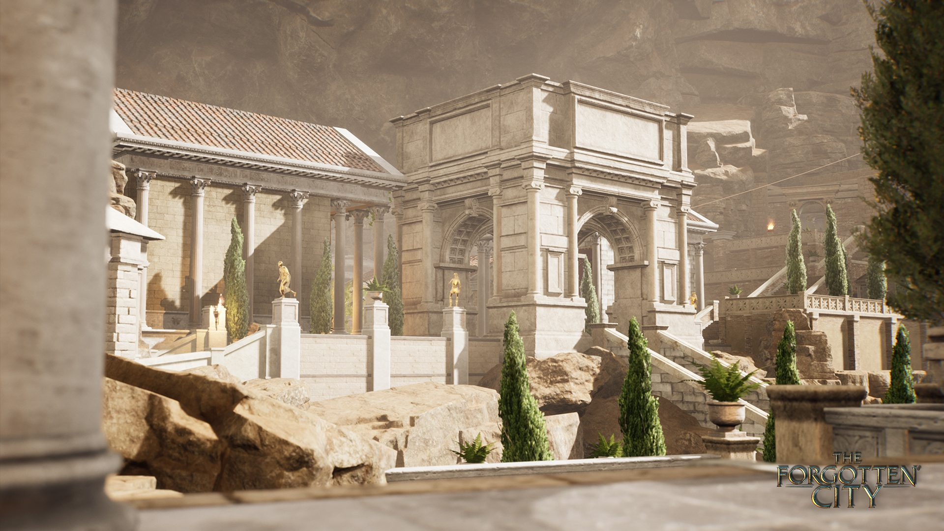 A screenshot from Forgotten City. A marble Roman villa in what appears to be the mid-afternoon sun.