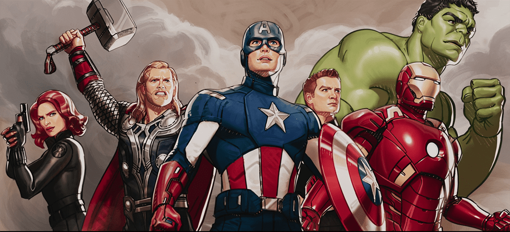 The Avengers illustrated in a more detailed version of What If ...?'s art style