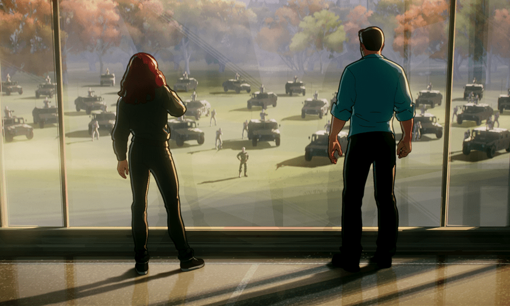 Natasha and Bruce look on as General Ross arrives with military backup
