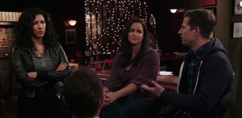 Rosa, Amy, and Jake from the Brooklyn Nine-Nine premiere
