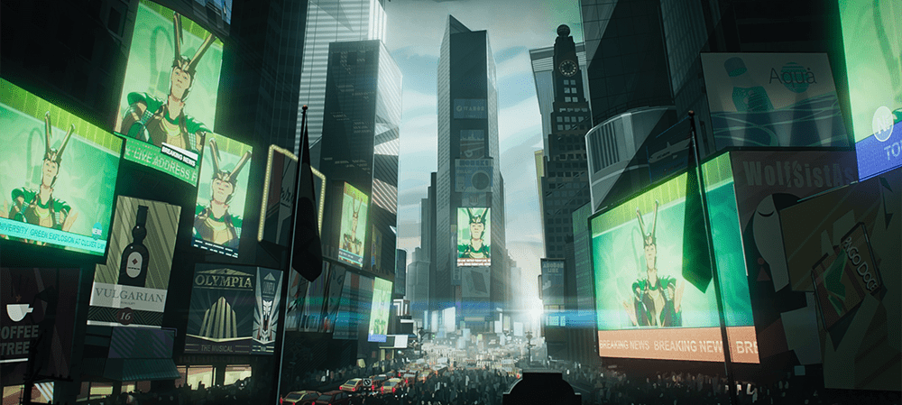 Loki's speech is broadcast in Times Square